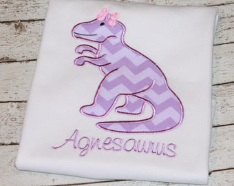 Girl's  Dinosaur Shirt, Personalize with your child's name and favorite colors