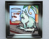 Just Looking - small framed painting by Louis Recchia