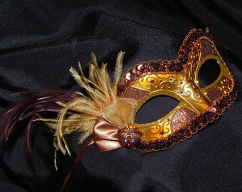 Masquerade Mask in Bronze and Gold - Made to Order