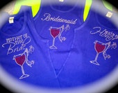 set of 8 bridesmaid t shirts.  bachelorette party shirts. red wine glass shoe bride tank top. bachelorette tank tops. bride to be shirt.