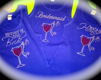 Bachelorette Party Shirts Set Of 4 . Winery Bachelorette Party Themed t-shirts . Wedding Shirt . Bridesmaid Shirts . Bridal Party Tees