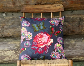 charcoal and plum floral pillow cover / decorative throw pillow cover / 18 x 18  / reversible / ticking fabric / jute webbing / home decor