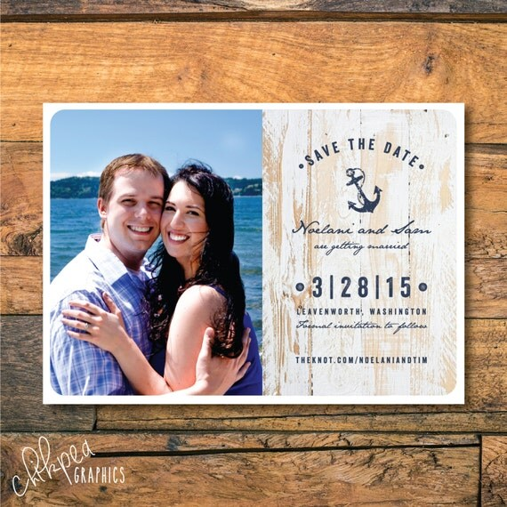 AHOY, MATE -- Anchor, Sailing, Ocean themed Save the Date, Engagement, or Wedding Announcement, Reserve the Date
