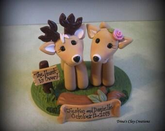 Wedding Cake Topper, Custom Cake Topper, Buck and Doe, Cake Topper, Deer, Personalized, Polymer Clay, Keepsake