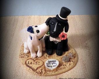 Wedding Cake Topper, Custom Cake Topper, Maltese, Puppy Cake Topper, Dog, Beach Theme, Polymer Clay, Keepsake