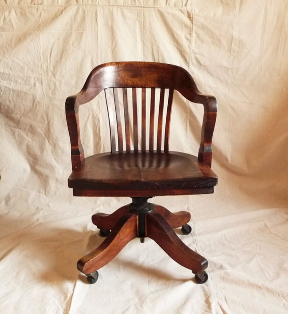 W H Gunlocke Swivel Walnut Desk Chair By Reconstitutions