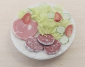 Plate of ham and salami salad  1/12 dolls house scale miniature