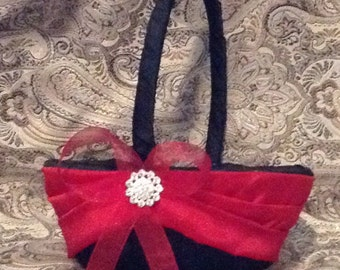 wedding flower girl basket black and red color custom made