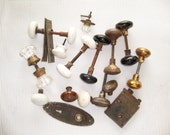 Antique Lot of Porcelain Glass and Architectural Metal DOOR KNOBS