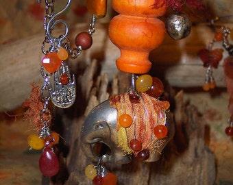 Tribal elephant orange gemstone necklace -Shambhala - a Place of Peace - Painted Pachyderm by PyxeeStyx - Traveling SideShow,SRAJD