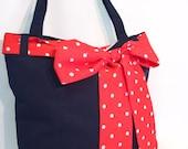 Navy blue tote bag, navy blue shoulder bag, dark blue shopping bag, red bow scarf bag, red spotty scarf shoulder bag rockabilly shoulder bag