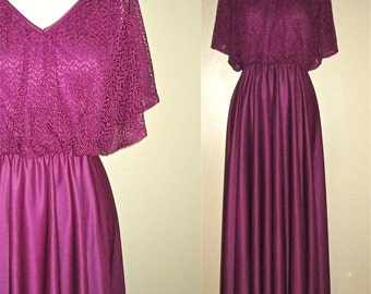 Vintage 1970s maxi dress PLUM CROCHET draped top - S/M