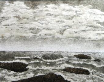 Sea and sky, 11 x 14 original artwork seascape landscape ocean painting outsider art work