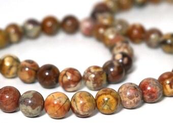 8mm Birdseye Rhyolite beads, round natural gemstone, Full & Half Strands  (903S)