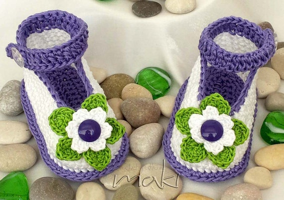 Crochet pattern baby booties Full of large by MakiCrochet ...