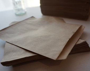 24 Brown Kraft Flat Paper Bags ~ *Favours*Markets*Gifts*Cards*Lolly Buffet*