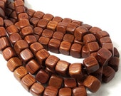 Bayong Wood, Square Cube, Smooth, 11mm, Natural Wood Beads, Large, Full Strand, 36pcs - ID 1845