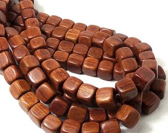 Bayong Wood, Square Cube, Smooth, 11mm, Natural Wood Beads, Large, Full Strand, 36pcs - ID 1845