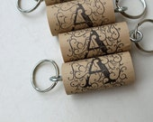 Wine Cork Key chains - Letter A Design - wine cork key chains