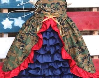Girls Army Navy Air Force Marines camo custom welcome home dress