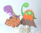 Dinosaur Cupcake Toppers - 12 - rrroaring dino party collection