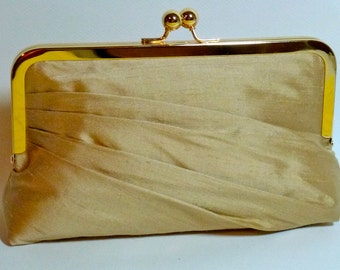 Bridal Clutch or Bridesmaids Clutch Champagne Side Pleated Dupioni Silk CUSTOMIZE