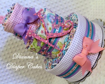 Baby Diaper Cake Girls Shower Gift or Centerpiece (with or without initial)