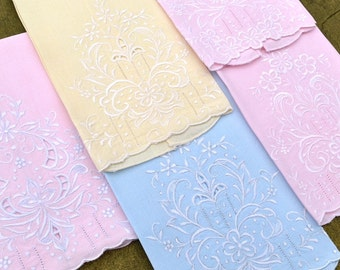 Vintage Guest Towels, Set of Five, Linen, White Embroidered Pomegranate Flower on Pastel Pink, Blue, Yellow, Excellent Condition