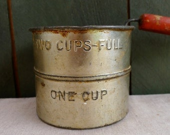 vintage - rustic - flour sifter - red handled - country kitchen
