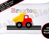 Personalized Pillowcase - Dump Truck, Boys Pillow Case, Kids room decor, boys room decor, truck pillow case, kids pillow case, little boy