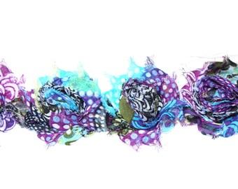 Purple Peacock Petite  Shabby Flowers - Chiffon Flowers - Shabby Chiffon Flowers - Wholesale Shabby Trim 1/2 yard or 1 yard