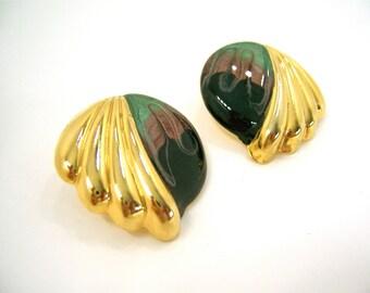 Vintage earrings, shells gold, teal plum black enamel swirls, retro 80s hipster jewelry for ears, adding bling, mixed media art supply.