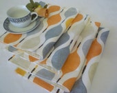 4 Funky Placemats Orange Gray Machine washable