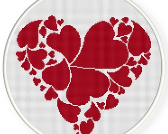 INSTANT DOWNLOAD,Free shipping,Cross stitch pattern, Crossstitch PDF,heart, cross stitch pillow pattern,zxxc0443
