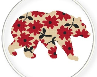 Instant Download,Free shipping,Counted Cross stitch pattern,Cross-Stitch PDF,flower bear ,zxxc0460