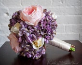 Lavender Hydrangea and Pink Peony Wedding Bouquet - Silk Bridal Bouquet