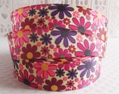 CLEARANCE SALE*FREE Shipping~2 yards x Floral Flowers 22mm Grosgrain Ribbon - Ribbon Hair Bow-Sewing Notions-Scrapbook Ribbon