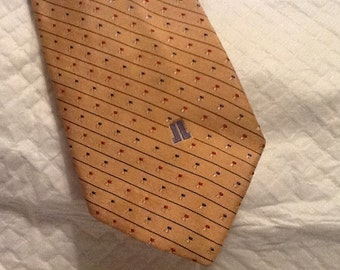 Vintage LANVIN Tie with Diagonal Stripes in Red Blue New York Paris AUTHENTIC GENUINE