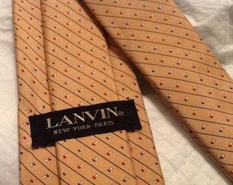 Vintage LANVIN Tie with Diagonal Stripes in Red Blue New York Paris AUTHENTIC GENUINE