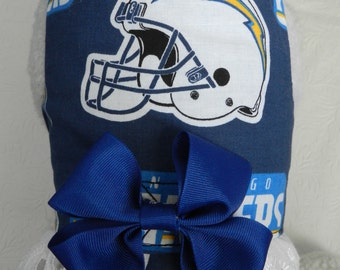 NFL San DIEGO CHARGERS Football Team Mascot Harness with Bow and Lace. Custom made for your Cat, Dog or Ferret.