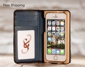 The Little Pocket Book wallet case for iPhone 5/5S/SE - Onyx Black/Deep Sea Blue