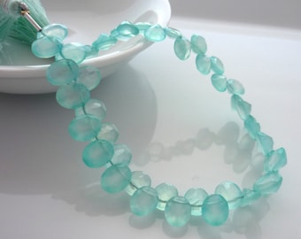 Oval ring cut aqua chalcedony briolette beads 9mm x 7mm 1/2 strand