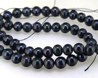 """Black Freshwater Cultured Pearl Beads Gemstone Beads 7mm One Strand 15"""" Charm Black Pearl, Real Pearl Jewelry Fitting"""