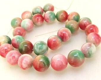 "14"" Charm 27Beads Round Rainbow Jade Green Jade Pink Jade 14mm Gemstone Beads Strand"