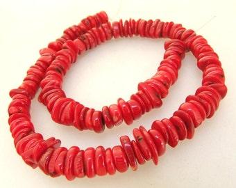 "16"" Heishi Red Coral Gemstone Beads Full One Strand Charm 10mm Coral Strand"