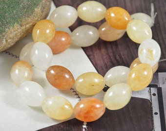 "Drum Crystal Quartz 18mx14mm Beads Gemstone  Full One Strand 15.5"""
