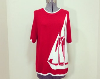 Vintage 80s Company Collection Short Sleeve Sweater/ Nautical / Red w/ White Sailboat / M