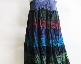 S3, Wavy Hippie Colorful Blue Cotton Skirt 3