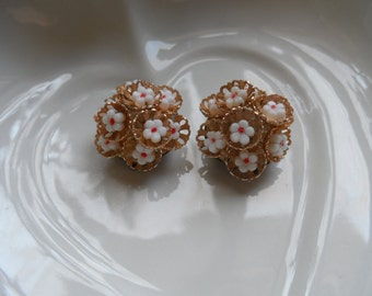 30s Earrings, Clip ons Goldtone and Little Flowers