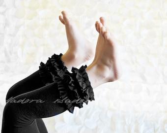 Black Cotton Ruffle Footless tights